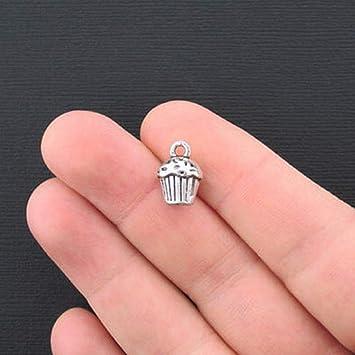 12pcs- Cupcake Charms Antique silver 3D Cupcake Charms pendants  13x10x8mm