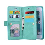Sammid iPhone X Wallet Cover, 5.8 inch iPhone 10 PU Leather Kickstand Case with Card Slot Zipper Hand Strap Protective Cover for iPhone X - Green
