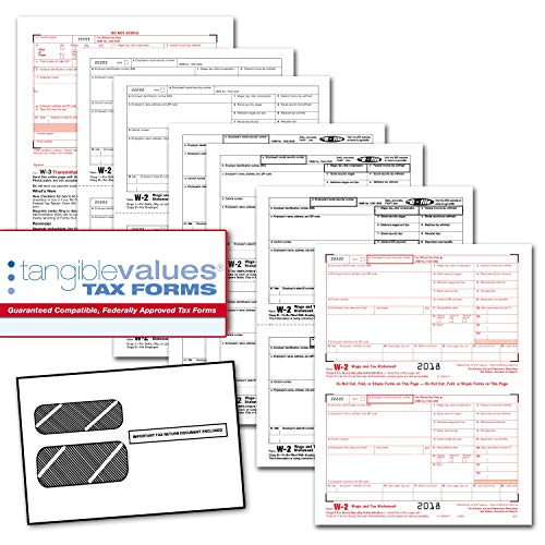 Tangible Values W-2 Laser Forms (6-Part) Kit with Envelopes for 25 Employees (2018) - Order W2 Forms