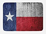Lunarable Western Bath Mat, Texas State Flag Painted on Crocodile Snake Skin Patriotic Emblem Image, Plush Bathroom Decor Mat with Non Slip Backing, 29.5 W X 17.5 W Inches, Ruby Dark Blue White