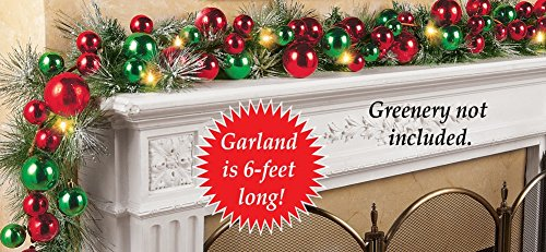 Lighted Colorful Ornament Wreath Garland, Red And (Christmas Garland Decorations)