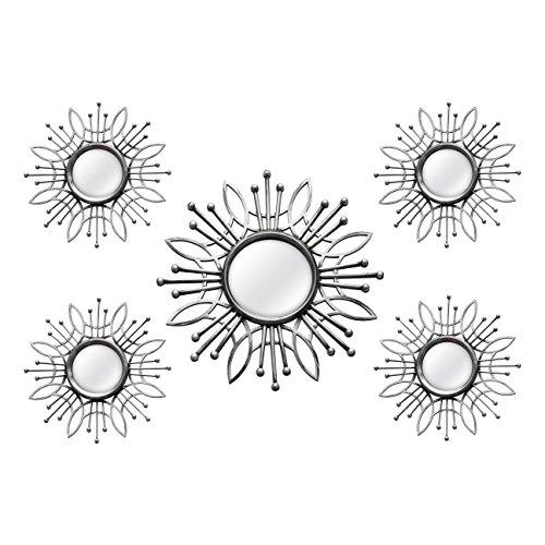 Stratton Home Decor SHD0257 5 Piece Burst Wall Mirror, Silver, 15.50 W X 0.79 D X 15.50 H, ()