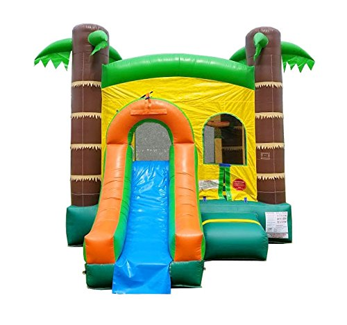 - Inflatable Bounce House and Wet / Dry Slide, 12-Foot by 12-Foot Bounce Area, Crossover Tropical Oasis Combo with Wet Pool Attachment, Blower, Stakes, Repair Kit, and Storage Bag