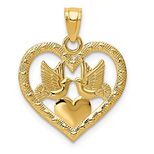 14k Yellow Gold Doves In Heart Pendant Charm Necklace Love Fine Jewelry Gifts For Women For Her ()