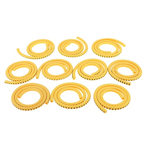 MonkeyJack 1000pcs Yellow Cable Markers Identification Labels Managment Number 0-9 Zero to Nine Assorted Size - 6mm² EC-3 (Number 8 Wire)