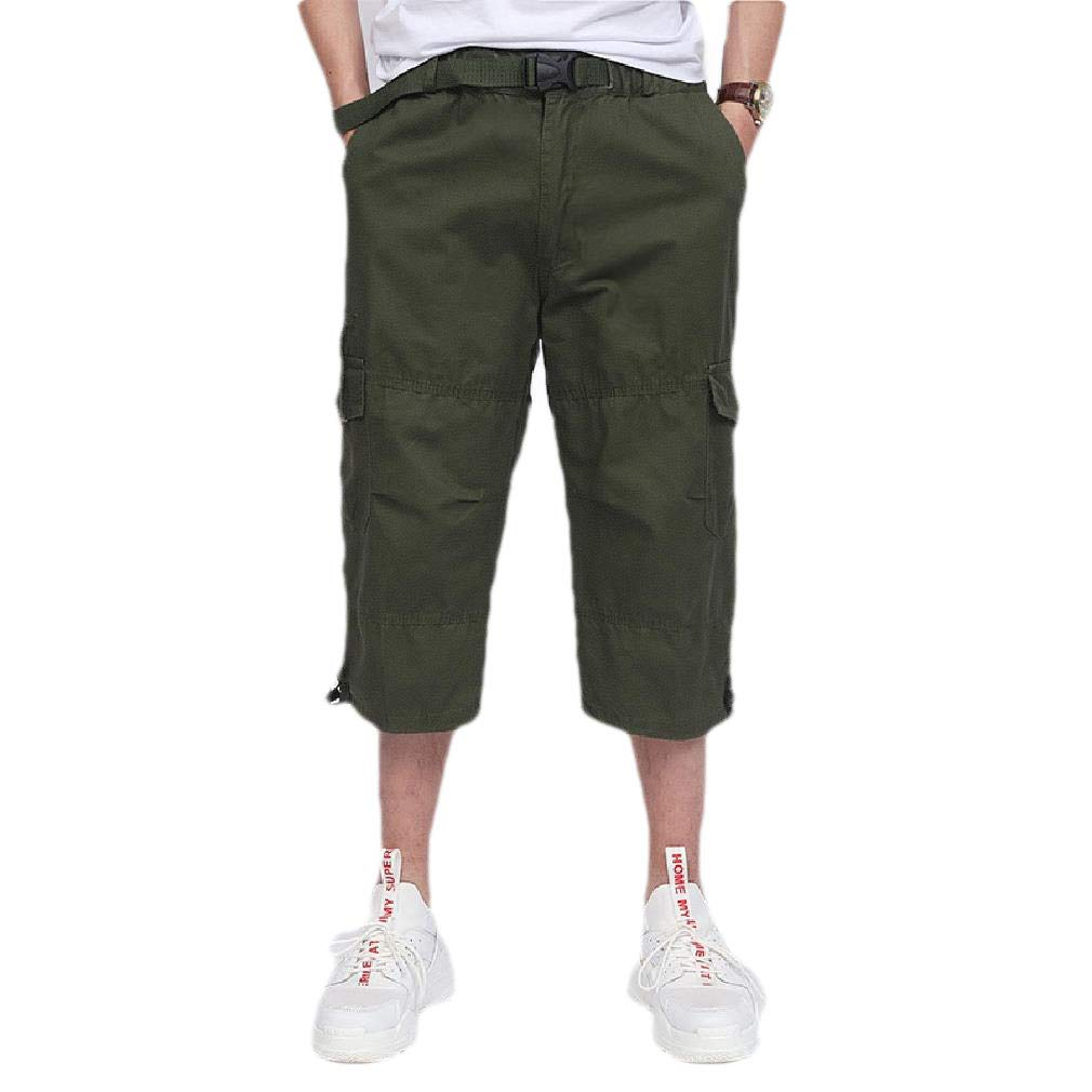 Losait Men Athletic-Fit Straight Regular Multi Pockets Cargo Twill Pant