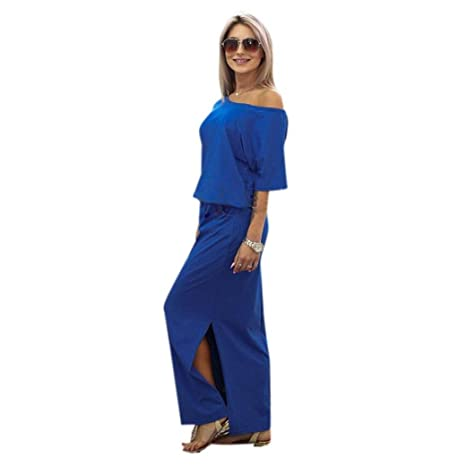 Women Plain Dress, Hmeng Womens Summer Boho Split Long Maxi Dress One Shoulder Beach Wear Evening Party Casual Dresses (Blue, XL): Amazon.co.uk: Clothing