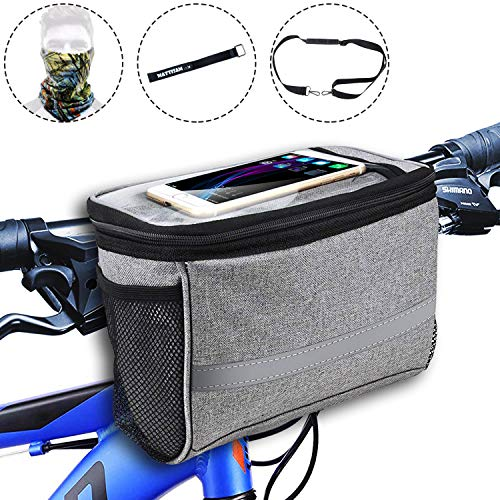 MattiSam Bike Handlebar Bag, Can be Used as Satchel, with | Detachable Shoulder Strap - Cold & Warm Insulation - Reflective Strip - Touchable Phone Pouch | Bike Basket, Bicycle Front Bag, Bike Pouch