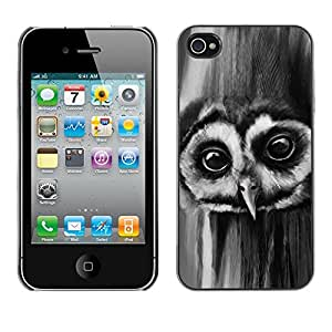 KOKO CASE / Apple Iphone 4 / 4S / owl night big eyes bird forest black white / Slim Black Plastic Case Cover Shell Armor