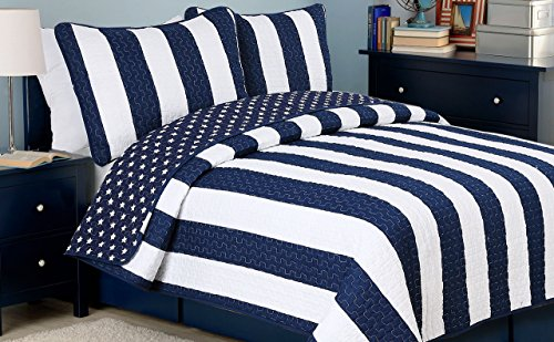 (Cozy Line Home Fashions Sailor Popeye 's Bedding Quilt Set, Nautical Navy Blue White Star Striped Pattern Printed 100% Cotton Reversible Coverlet Bedspread for Kids Boy(Sailor Star, Twin - 2 Piece))