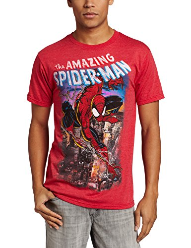 Marvel Men's Spiderscene T-Shirt, Red Heather, -