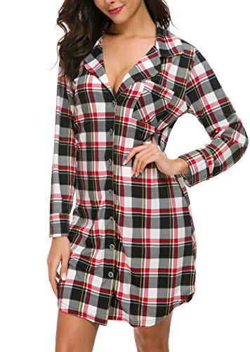 N NORA TWIPS Women Long Sleeve Red Plaid Pajama Top Button Down Lapel Sleep Shirt Dress