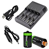 JETBeam i4 PRO Intelligent Charger enhanced V3 - 3rd Generation (Black) For 18650 RCR123 AA 18500 14500 18350 16340 18700 with Ac and 12V DC (Car) power cords, 2 X EdisonBright AA to D type battery spacer/converters