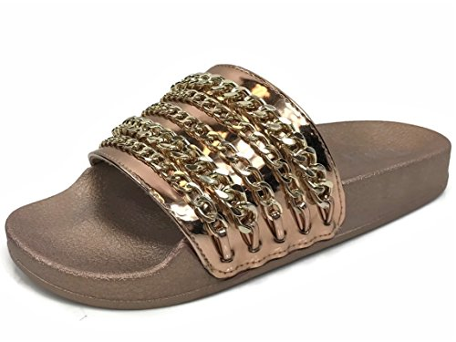 Slides Sandal W Comfort On Rose Chain Flat Gold Women's Willow Wells Soft Slip Collection 7YzWwqS