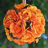 Efavormart 4 PCS Rose Pomander Silk Flower Balls for DIY Wedding Bouquets Centerpieces Arrangements Decorations Supplies - Orange