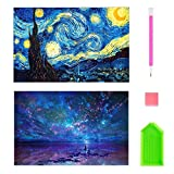 2 Pack DIY Diamond Painting Kits for Adults, Kpow 5D Diamond Painting Full Drill Paint with Diamonds Starry Night & Night Sky for Home Wall Decor by Number Kits (16X12inch)