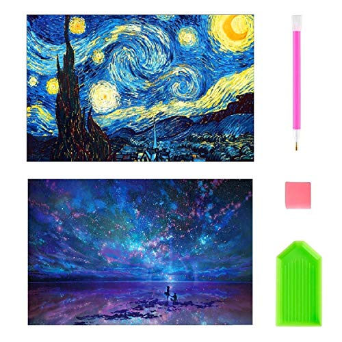 2 Pack DIY Diamond Painting Kits for Adults, Kpow 5D Diamond Painting Full Drill Paint with Diamonds Starry Night & Night Sky for Home Wall Decor by Number Kits (16X12inch) by Kpow