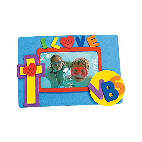 Fun Express - I Love Vbs Foam Picture Magnet Craft Kit - Craft Kits - Stationary Craft Kits - Frame - 12 Pieces