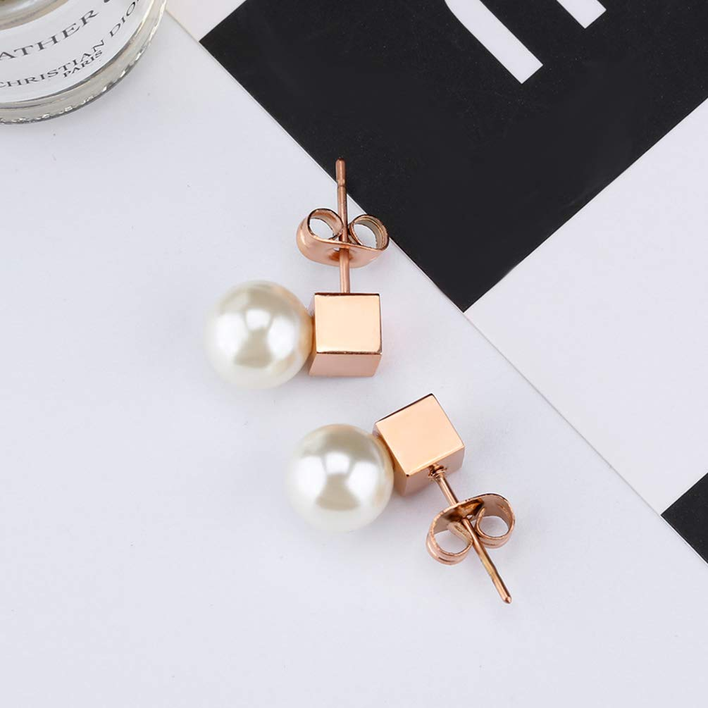 Wonlines Fashion Rose Gold Stainless Steel Pearl Dangle Earrings