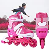 Meflying Inline Skates with Light Up Wheels for Kids, Adjustable Featuring Illuminating PU Wheels Aluminum Frame Rollerblades (US Stock) (Pink, Large)