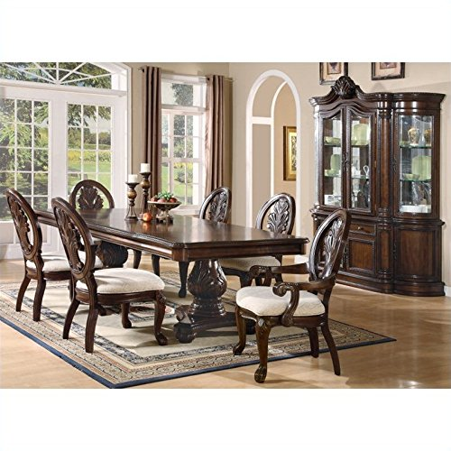 (Coaster Tabitha 7 Piece Rectangular Dining Set in Cherry)