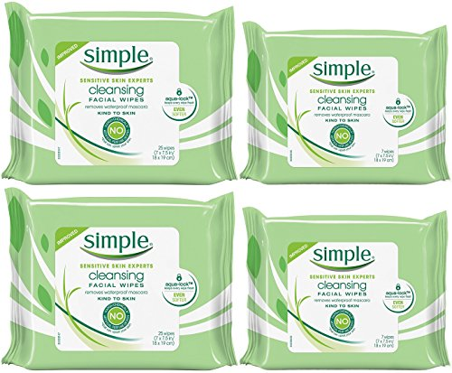 Simple Kind To Skin Cleansing Facial Wipes Bundle, Two 25-Count Plus Two 7-Count Travel Packs by Simple