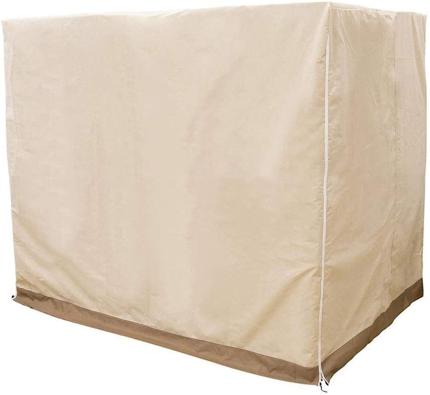 Hammock Canopy Swing Cover Heavy Duty Waterproof 3 Swing Seaters Cover Patio Furniture Cover,220X125X170cm Beige Wapern Swing Chair Cover