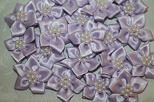 Lilac satin flower & pearl bows 20pcs wedding stationary scrapbook embellishment trim
