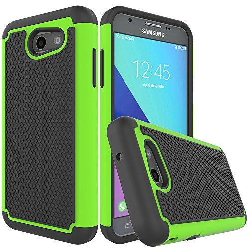 (Galaxy J3 Emerge Case,Galaxy J3 Prime Case,Galaxy J3 Luna Pro Case,J3 Eclipse Case,Galaxy Express/Amp Prime 2 Case,Asmart Armor Defender Cover Protective Phone Case for Samsung Galaxy J3 2017, Green)