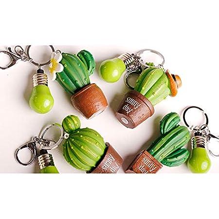 Lumanuby Llaveros Cactus suculento Llavero de Moda de la Personalidad de Originales Cadena de Clave Adecuado para Hombres y Mujeres Verde