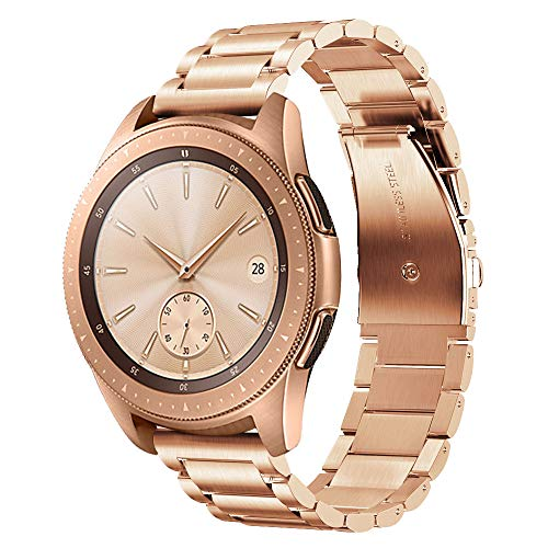V-MORO Metal Band Compatible with Galaxy Watch 42mm (Active 40mm) Bands Rose Gold 20mm Solid Stainless Steel Strap Bracelet for Samsung Galaxy Watch 42mm R810/Galaxy Watch Active 40mm R500 Women