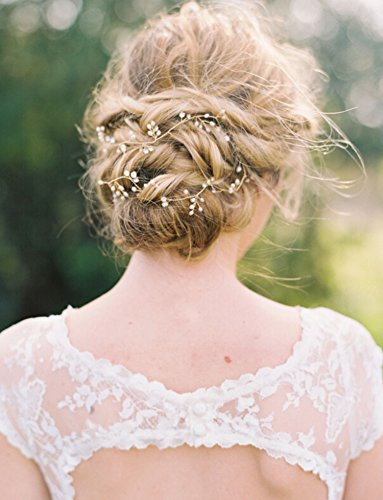 Bridalvenus Wedding Bridal Headband - Bridal pearl halo - Bridal hair Updo accessory Wedding Bridesmaid Headpiece for Women and Girls(Silver)
