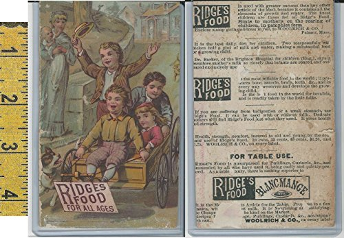 - Victorian Card, 1890's, Woolrich Ridges Food, Palmer MA, Boys, Cart, Dog