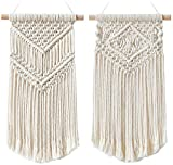 Dahey 2 Pcs Macrame Wall Hanging Small Woven Tapestry Wall Art Decor - Beautiful for Boho Home Decor, Apartment, Nursery, Party Decorations, 16.5' L x 10' W and 17.5'x 10'W