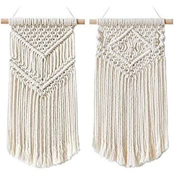 Dahey 2 Pcs Macrame Wall Hanging Small Woven Tapestry Wall Art Decor - Beautiful for Boho Home Decor, Apartment, Nursery, Party Decorations, 16.5