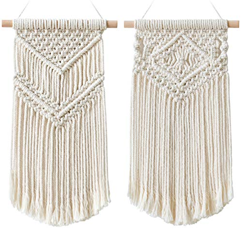 - Dahey 2 Pcs Macrame Wall Hanging Small Woven Tapestry Wall Art Decor - Beautiful for Boho Home Decor, Apartment, Nursery, Party Decorations, 16.5