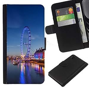 A-type (Ferry rueda de parque de atracciones de Londres) Colorida Impresión Funda Cuero Monedero Caja Bolsa Cubierta Caja Piel Card Slots Para Sony Xperia Z4v / Sony Xperia Z4 / E6508