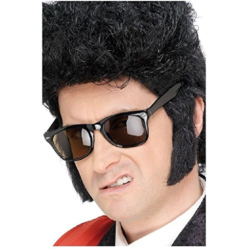 [Ponce Fake BLACK HAIR Sideburns Side Burns Mutton Chops Biker Confederate 50s Greaser] (Confederate Flag Halloween Costume)