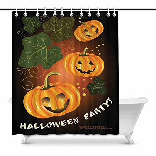 InterestPrint Welcome to Halloween Party Modern Art Fabric Shower Curtain, 60 x 72 Inches Long -