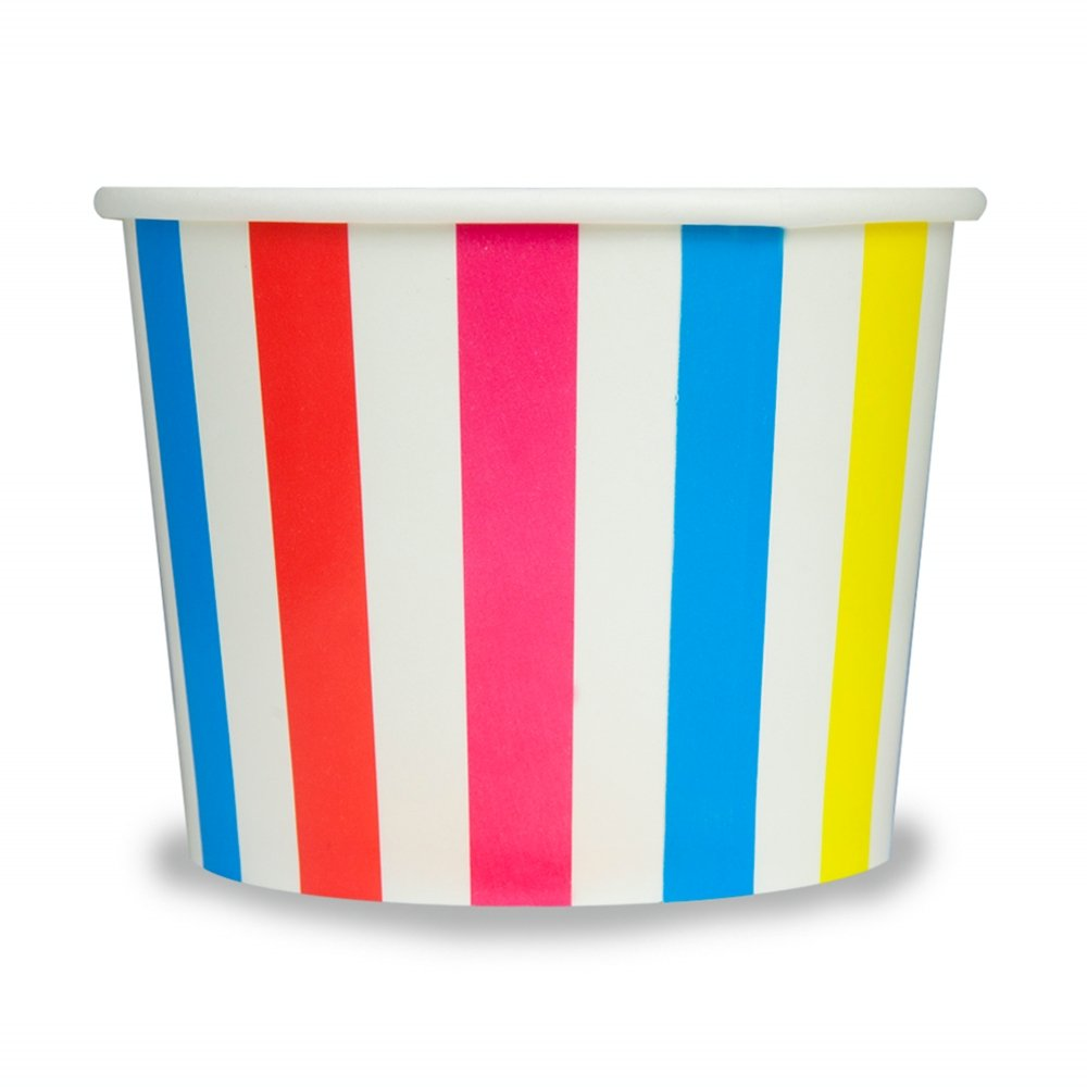 Rainbow Paper Ice Cream Cups - 12 oz Striped Dessert Bowls -Perfect For Your Yummy Foods! Many Colors & Sizes - Frozen Dessert Supplies - Fast Shipping! 1,000 Count