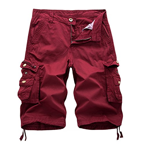 Leward Men's Cotton Twill Cargo Shorts Outdoor Wear Lightweight (36, Red) ()