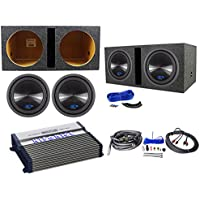 2 Alpine Type-S SWS-12D4 12 1500w Subwoofers+Vented Box+Hifonics Amplifier+Kit