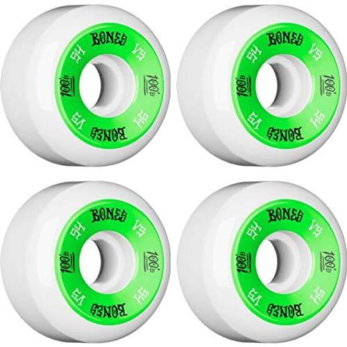 骨妖精勃起Bones Wheels 100のv5ホワイト/グリーンスケートボードホイール – 54 mm 100 A ( Set of 4 )
