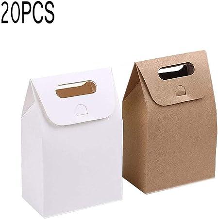 Papel Kraft Caja de Regalo,Bolsa de papel Kraft,Dulces Regalos Cajas,Para el presente del banquete de boda Embalaje Favor Favor Regalo Dulces,10 pcs blanco y 10 pcs marrón: Amazon.es: Hogar
