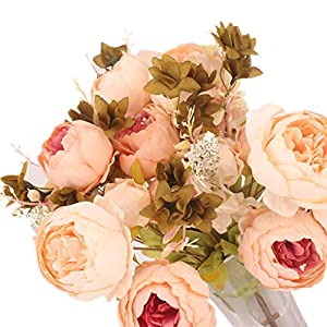 Four dianpo 13pcs Artificial Light Pink Peony Bouquet Wedding Party Decorations Home Living Room Decors 76