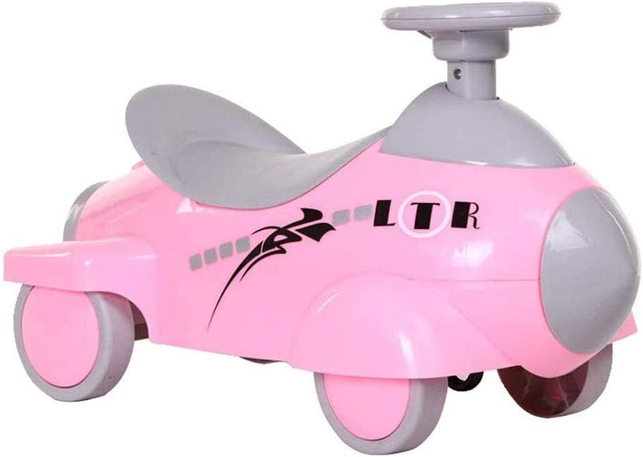 SMLZV Paseo en Coches de Juguete Empujar Deslizante de 4 Ruedas Patinaje Giro de Coches Cesta de los niños por 1~4 Años de Edad (Color : Pink)