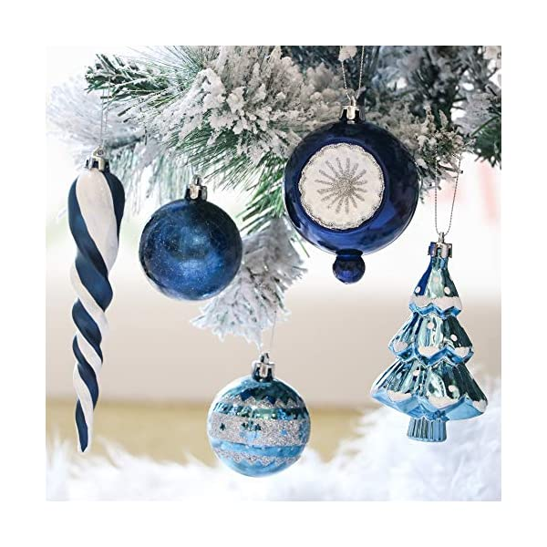 Valery Madelyn Palle di Natale 100 Pezzi di Palline di Natale, 3-5 cm Auguri Invernali Argento e Blu Infrangibili Ornamenti di Palle di Natale per Decorazioni per Alberi di Natale 4 spesavip