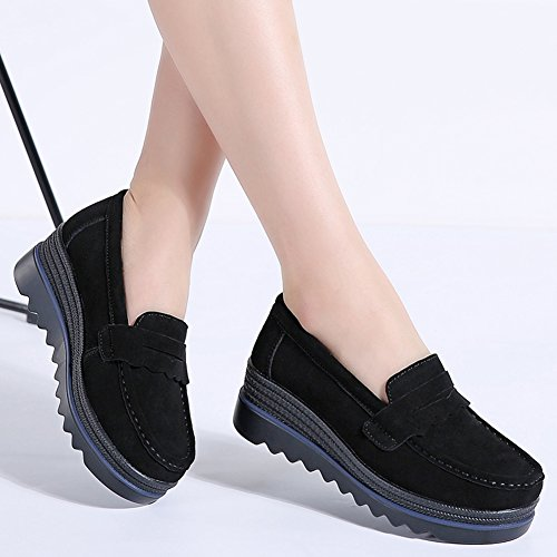 021e8238e7e HKR Womens Slip On Platform Shoes Casual Suede Loafers Comfortable Wedge  Sneakers