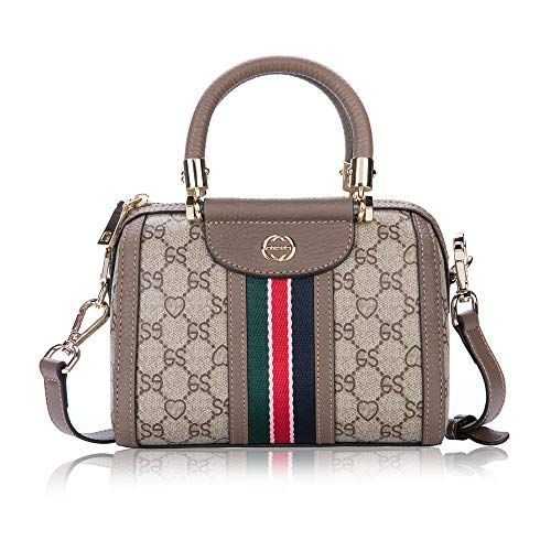 LeDuruo Women Top-Handle Designer Handbag with Shoulder Strap Satchel Tote CrossBody Bag Zipper (Small, Grey) ()