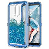 lg 3 bumper - Dexnor Compatible with LG Stylo 4 Case LG Q Stylus Case Hard Clear Glitter 3D Flowing Liquid Cover TPU Silicone + PC 3 Layer Shockproof Protective Heavy Duty Defender Bumper for Girls/Women - Blue